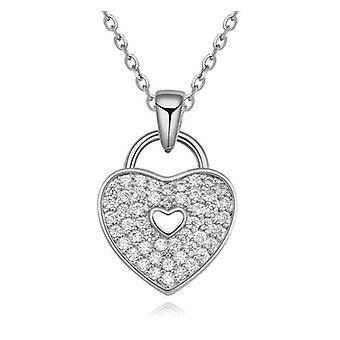 Womens «verrouillé» amour coeur Collier pendentif