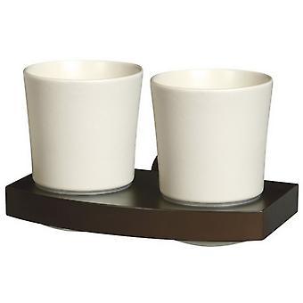 实木和扎马克墙安装陶瓷双牙杯牙刷杯抓地力