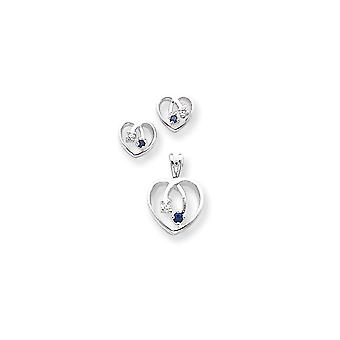 925 Sterling Silver Polished Post Earrings Rhodium plated Blue Clear CZ Cubic Zirconia Simulated Diamond Love Heart Earr