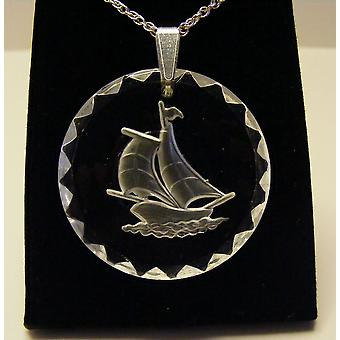 Frosted Round Yacht Crystal Pendant