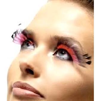 Pluma pluma pestañas - negro y rosado - contiene pegamento