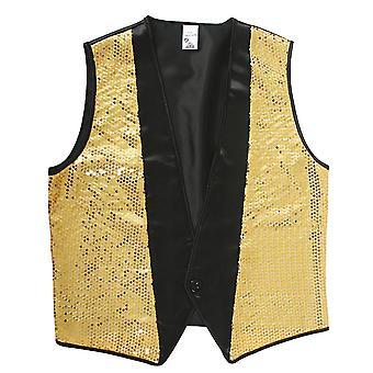 80s kostuum mannen goud vest disco moderator heer kostuum