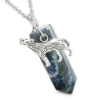 Moed Howling Wolf bescherming energie Amulet gelukkige Crystal punt sodaliet hanger 18 Inch ketting