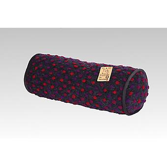 Neck roll pillows anthracite coloured wool 42 x 14 cm