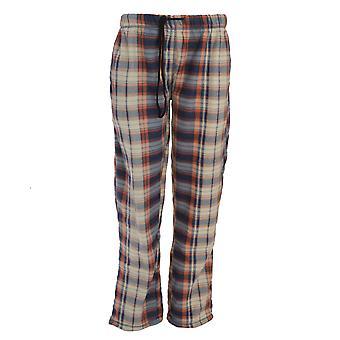 Brave ziel Mens volledige lengte Polar Fleece pyjama's Bottoms - Marine en oranje Tartan