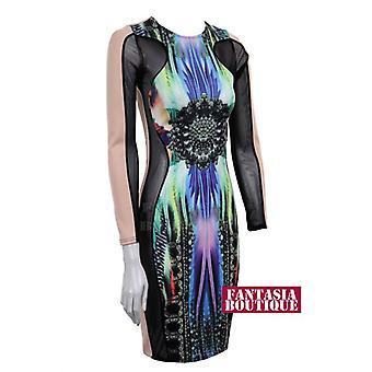 Nowy damski długi rękaw siatka wstawić Trance wydruku kobiet sukienka Bodycon