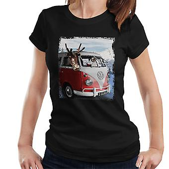 Volkswagen Santa And Reindeer T1 Camper Van Women's T-Shirt