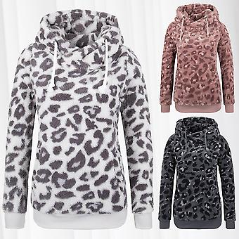 Erational Womens Fleece Hoodie léopard pull Pullover peluche pull manches longues