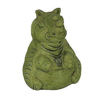 Statue en béton Design Zen vert Pierre moussu Rhino