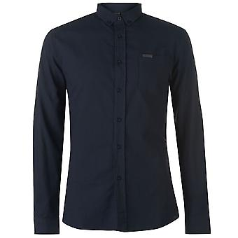Firetrap Herren Basic Oxford Hemd Langarm Button Befestigung Kragen Top