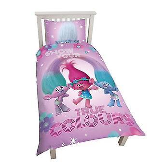 Trolls Glow duvet Cover Set turnable 135x200 + 48 x 74cm