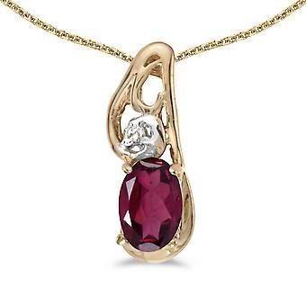 LXR 14k Gul Guld Oval Rhodolite Granat och Diamant hänge 0.49 ct