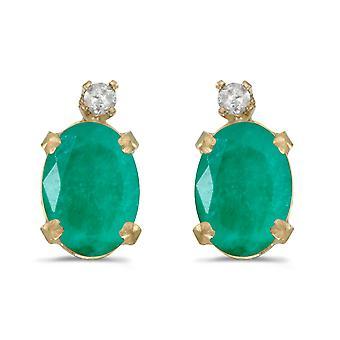 Orecchini ovali smeraldo e diamante in oro giallo LXR 14k 1.12ct