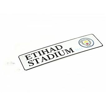 Manchester City FC Official Football 3D Embossed Metal Hanging Street Sign