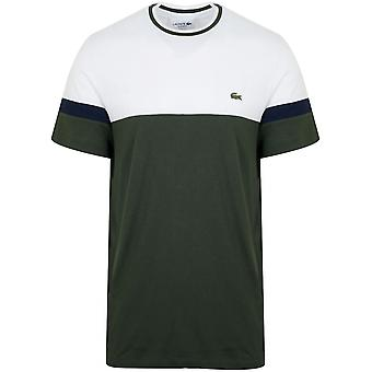 T-shirt Lacoste White et Olive Green Colour Block