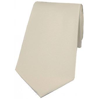 David Van Hagen Horizontal Ribbed Polyester Tie - Ivory