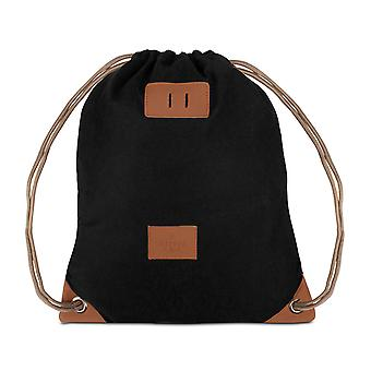 Bolsas de gimnasio patrón mochila deportes gimnasio bolso Gymsack algodón negro 6852