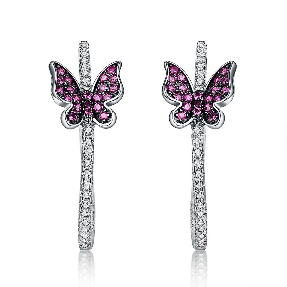 925 Sterling Silver Pave Butterfly Hoop Earrings