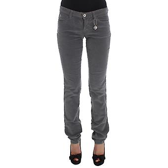 Gray cotton super slim corduroys jeans