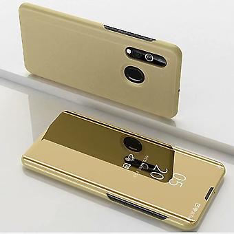 För Samsung Galaxy A20e rensa Visa spegel Smartcover guld täcka fall fall fall nytt fall vakna upp funktion