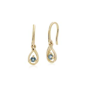 Classic Single Stone Round Aquamarine Tear Drop Earrings in 9ct Yellow Gold 135E1190079
