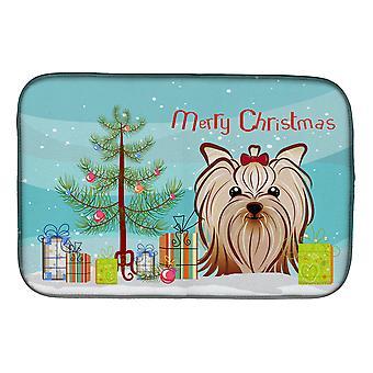 Arbre de Noël et Terrier Yorkie Yorkishire plat Mat séchage