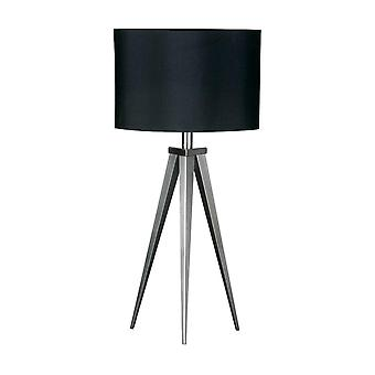 Fusion Living Satin Nickel Small Tripod Table Lamp With Black Shade