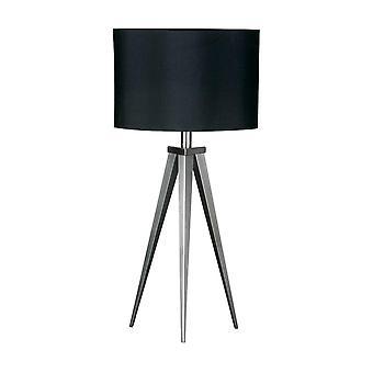 Fusion Living Satijn nikkel kleine statief tafel lamp met zwarte kap