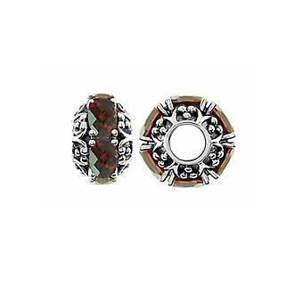 Storywheels Oxidiertes Silber & Granat Rad Charme S383G