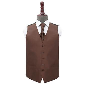 Chocolate Brown Plain Shantung Wedding Waistcoat & Cravat Set