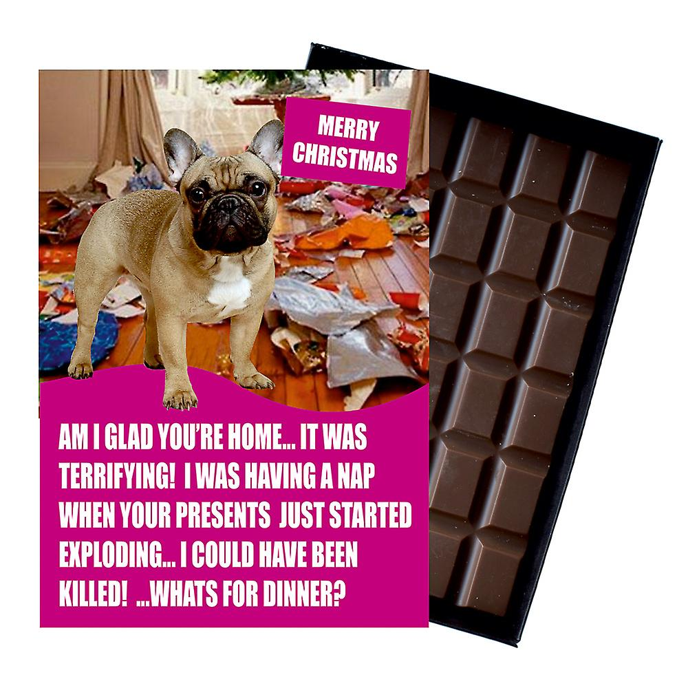 French Bulldog Funny Christmas Gift For Dog Lover Boxed Chocolate Greeting Card Xmas Present