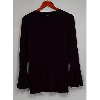 Du Jour Crew Neck Rib Knit Sweater w/ Bell Sleeves Purple A295382