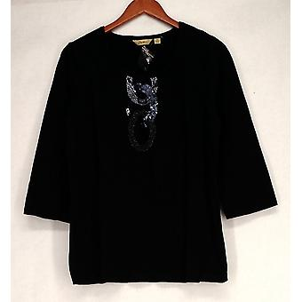 Motto 3/4 Sleeve Embellished Scoop Neck Black Top A203099
