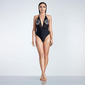Golddigga Womens Shell Badge Swimsuit Beach Mesh