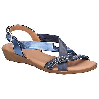 Riva Womens San Nicola Buckled Sling Back Navy/Multi