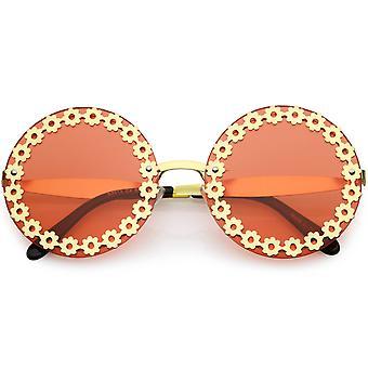 Oversize Vintage muoti metalli kukka reuna leikata pyöreä aurinko lasit 60mm