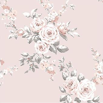 Catherine Lansfield Blush Floral Glitter Duvet Ensemble Réversible Lit literie Rideau Feuille
