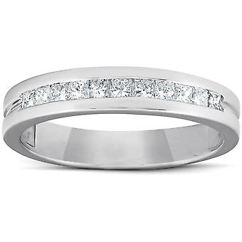 1/2ct Princess Cut Diamond Mens Wedding Ring 14K White Gold