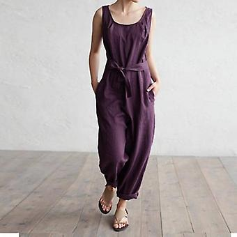 Overalls Sleeveless Jumpsuits Long With Pockets Belt