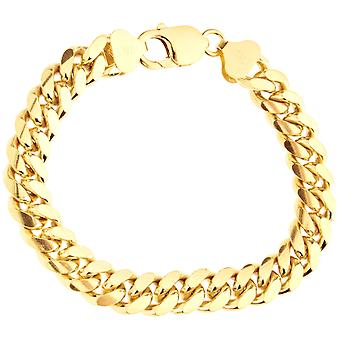 Sterling 925 silver tank chain bracelet - MIAMI 10mm gold