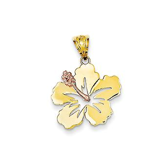 14k Yellow and Rose Gold Polished Hibiscus Flower Pendant Necklace Jewelry Gifts for Women