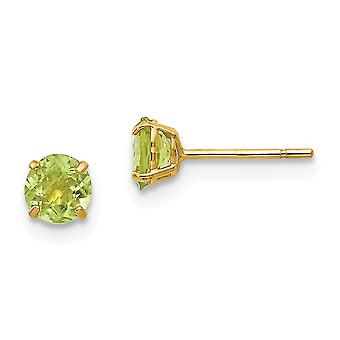 14k Yellow Gold Polished Round Peridot 4mm Post Earrings Jewelry Gifts for Women