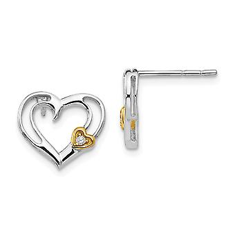 925 Sterling Silver White Ice Diamond 14k Gold Plated Love Heart Earrings Jewelry Gifts for Women