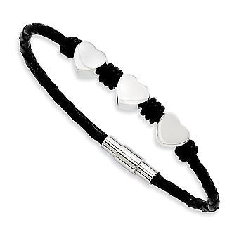 Acero Inoxidable Magnetic Cierre Cuero Negro con Corazones de Amor Pulido 7.5inch Pulsera Joyería Regalos para Mujeres