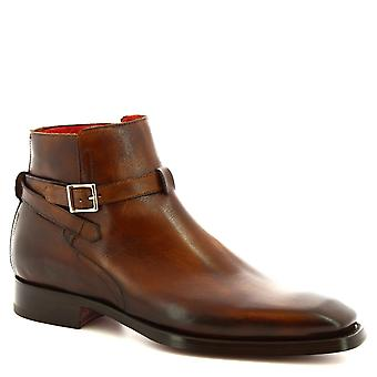 Leonardo Shoes Men's handmade ankle boots in brandy calf leather with buckle