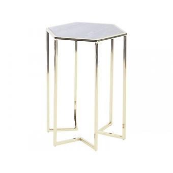 Libra Furniture Hexagonal Purple Marble And Gold Side Table