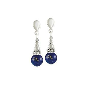 Evig samling Bella lapis lazuli sølv tone drop skrue tilbake klipp på øredobber