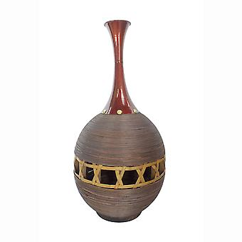 """14"""" X 14"""" X 29.5"""" Champagne Bamboo Metal Vase with a Band"""