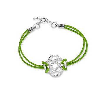 Celtic Eternity Knotwork Friendship Bracelet - A Green Leather Strap