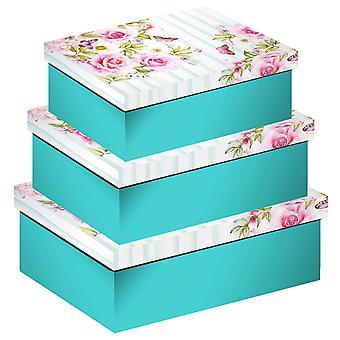 Eurowrap Floral Stripes Shirt Boxes (Set of 3)